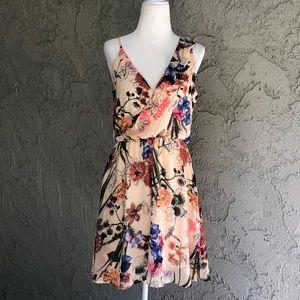 Astr Peach Floral Ruffle Wrap Style Dress Small